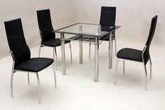 Charming Black 4 seat dining sets