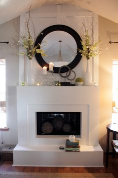 Round Mirror Over Fireplace Ideas You Can Try At Your Home – Farmhouse Fireplace Mantels Mirror Over Fireplace, Fireplace Wall, Fireplace Design, Fireplace Ideas, Fireplace Mantles, Mantle Ideas, Fireplace Mantle Decorations, Mantels Decor, Mantle Art