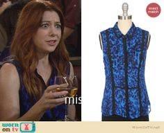 Lily's blue sleeveless leopard print top on How I Met Your Mother. Outfit Details: http://wornontv.net/23276 #HowIMetYourMother