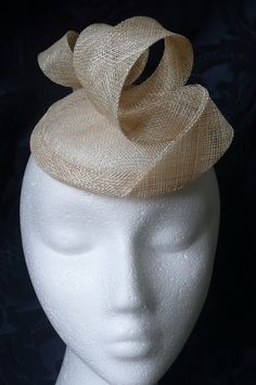 Neutral light beige sinamay swirl Pill Box hat fascinator WEDDING Special occasion RACES cocktail party via Etsy
