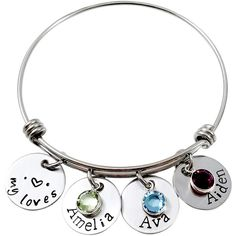 204768cdc Four-Disk 'Loves' Personalized Bangle with Swarovski® Crystals Love S,  Bangle