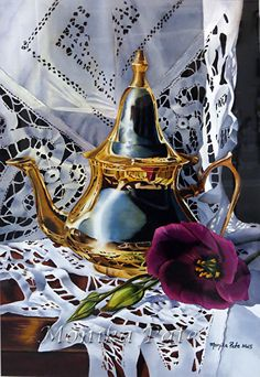 Still Life with a Purple Flower by Monika Pate Watercolor ~ 21 x 14