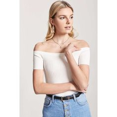 Forever 21 Ribbed Knit Crop Top Cream ($15) ❤ liked on Polyvore featuring  tops