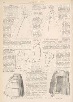 Bodice drafting and measuring pattern 1872 Revue de la Mode