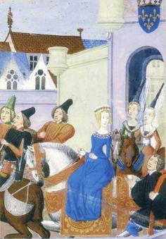 Entrée à Paris d'Isabeau de Bavière, reine de France, en 1389, miniature des Chroniques de Froissart  Isabeau de Bavière est accompagnée de Marguerite de Flandres, duchesse de Bourgogne (épouse de Philippe le Hardi), et de Marguerite de Bavière, comtesse de Nevers, future duchesse de Bourgogne (épouse de Jean Sans Peur).