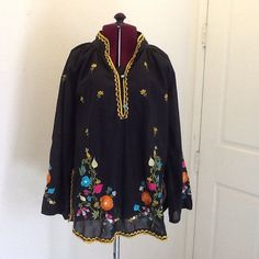Vintage Boho Hippie Blouse Embroidered by Susiessecretvintage