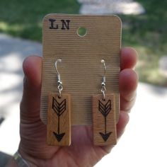 wood burned earrings - LADY from the NORTH