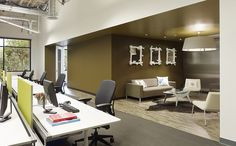 Two-floor build-out to create a relaxed work environment with open ceilings. With private spaces in freestanding pods, this office space provides an ideal balance for employee collaboration and concentration. http://www.bcciconst.com/what-we-build/sustainable/sky/