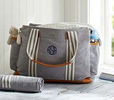 Diaper Bag: Gray Classic, Tote for Baby Essentials at Pottery Barn Kids - Diaper Totes Chic Diaper Bag, Best Diaper Bag, Diaper Backpack, Backpack Bags, Baby Kind, Baby Love, Everything Baby, Baby Registry, Pottery Barn Kids