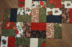 "Holiday Quilted Table Runner, zig zag design, 25"" by 42"