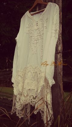 very pretty!  Altered couture dress, free people, girly, boho, hippie chic, cottage chic, cowgirl, farmgirl, gypsy festival, wearable art couture, boho