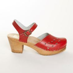 Leaf Punch Mary Jane Clog Red by Sven