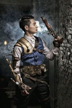 Suave Steampunk Man - For costume tutorials, clothing guide, fashion inspiration photo gallery, calendar of Steampunk events, & more, visit SteampunkFashionGuide.com