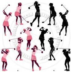 Women Golf Silhouettes