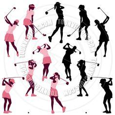 Women Golf Silhouettes