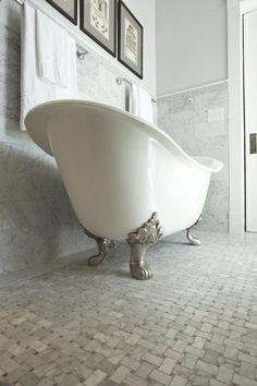 Bathroom Marble Basket Weave Tile and Clawfoot Soaking Tub Restored Historic Home Savannah