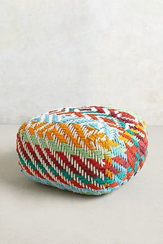 Anthropologie EU Large Diamond-Weave Pouf