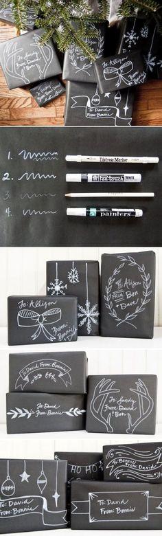 Papel de regalo original negro estilo pizarra