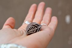Small textile stamp sweet leaf traditional Indian henna carved wood block print stamp