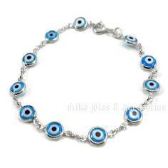Pulseira Folheada Prata 925 Olho Grego Turco Azul Claro c/ Garantia  - Drika Jóias & Acessórios