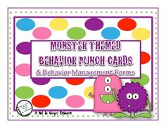 This monster themed resource is great for managing behaviors! Use the punch cards to track progress and support behavior plans. This resource inclu...