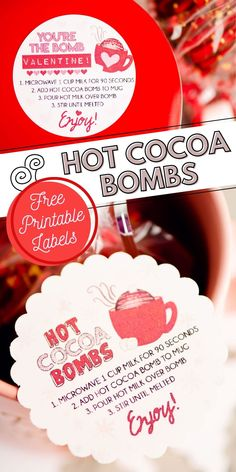 When you are gifting hot cocoa bombs, be sure to include one of these easy free printable instruction labels. Print them on stickers or cardstock for a finishing touch to complete your package. Printable Labels, Free Printables, You Are The Bomb, Drink Recipes, Yummy Recipes, Dessert Recipes, Yummy Food, Diy Food Gifts, Homemade Vanilla
