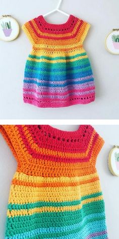 Every little girl loves colorful clothes, especially dresses! So create this lovely Over The Rainbow Dress for your child or as a gift. You won't find such a lovely dress in any shop, so start today! Crochet Baby Dress Free Pattern, Crochet Toddler Dress, Boy Crochet Patterns, Baby Girl Patterns, Baby Clothes Patterns, Baby Girl Crochet, Crochet For Boys, Crochet Clothes, Crochet Dress Girl