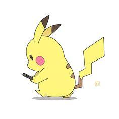 Photo: Pikachu qui joue à Pokémon Go