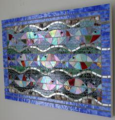 Mosaic Stained Glass Fish Waves Ocean Sea Water por GlassArtsStudio