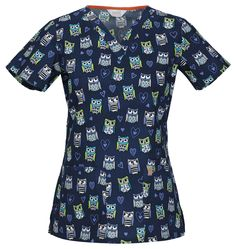 "Code Happy V-Neck Top in ""Hoo Has Your Heart?"" from Cherokee Scrubs at Cherokee 4 Less"