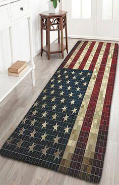 Vintage Mosaic Plaid American Flag Antislip Flannel Rug