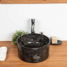 Lavabo en marbre salle de bain Ulysse 30 cm noir Lavabo D Angle, French Bathroom, Sink, Home Decor, Collection, Products, Teak Furniture, Black Marble, Natural Stones
