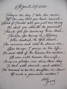 love this idea of writing a heart felt letter to the mother of the groom on such a special day when her son becomes your husband