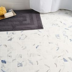 Calacatta Azur 2x2 Matte Porcelain Mosaic   Tilebar.com Bathroom Renos, Bathroom Flooring, Navy Blue Bathrooms, Marble Look Tile, Laundry Room Remodel, Calacatta, Shower Floor, Outdoor Walls, Porcelain Tile