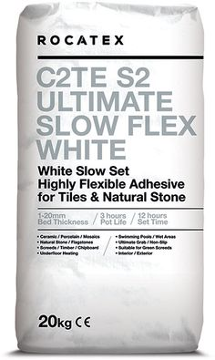 Mega mega pallet deals on ROCATEX C2TE S2 Ultimate Slow Flex White Adhesive, a single part, highly flexible, slow setting wall and floor tile adhesive for fixing natural stone and tiles including ceramics, porcelain and mosaics to a variety of substrates. Suitable for interior and exterior use, also as a fast track solution for green screeds. Find out more at buy the pallet.co.uk Electric Underfloor Heating, Adhesive Tiles, Tongue And Groove, Wire Brushes, Wall And Floor Tiles, Heating Systems, Mosaics, Interior And Exterior, Natural Stones
