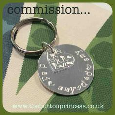 A birthday keyring commission that's had the seal of approval...  Commissioned by a mummy for her daughter to give to her daddy on his birthday...was super chuffed to be asked to make something so special and beaming now that it was well received.   A lovely piece to make.   If you are interested in commissioning your own piece of Button treasure, drop me a line at info@thebuttonprincess.co.uk  #jewellery #jewelry #silver #handmade #original #keyring #birthday #daddysgirl #commission…