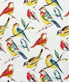 Richloom Birdwatcher Summer Fabric By The Yard Fabric Birds, Blue Fabric, Pretty Animals, Coq, Drapery Fabric, Pillow Fabric, Home Decor Fabric, Bird Watching, Bird Houses