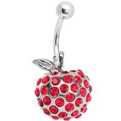 $9.99 #bellyring #bodycandy #piercing Red Sparkly Apple of My Eye Belly Ring