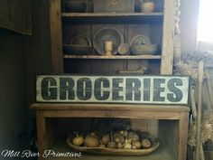 Early looking Antique Primitive GROCERIES Wooden Sign by MillRiverPrimitives on Etsy