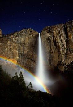 "Moonbow at Yosemite Falls    ""Take a course in good water and air; and in the eternal youth of Nature you may renew your own. Go quietly, alone; no harm will befall you.""  John Muir"