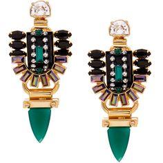 Elizabeth Cole Juniper Emerald Crystal Earrings (86.930 CLP) ❤ liked on Polyvore featuring jewelry, earrings, orecchini, green, vintage earrings, emerald jewelry, emerald earrings, vintage green jewelry and crystal jewelry