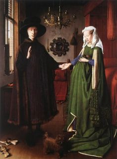 JAN VAN EYCK, active 1422 - 1441: Giovanni Arnolfini and his wife. Oil on panel, 81'8 x 59'7.