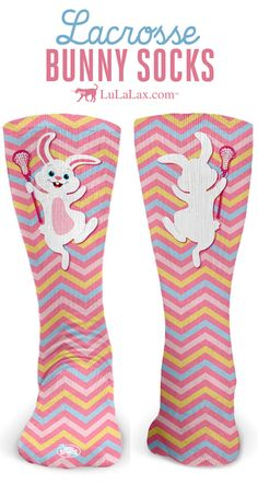 Our Lax Easter Bunny socks make a fun Easter gift for lacrosse girls and teams! They're great for playing in lacrosse games and tournaments or just hanging around! LuLaLax.com