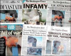 Newspaper headlines covering 9/11