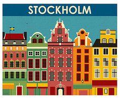 Affiche Stockholm papier tissé, Multicolore - L26