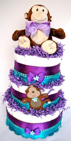 Diaper Cake  Purple Teal & Brown Monkey by DomesticDivaDesignz, $85.00