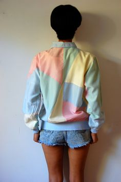 Vtg Color Block Pastel Silk Zip Up Windbreaker Jacket Pastel Fashion, 90s  Fashion, Fashion d0f1d6a795fd