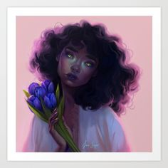 Tulips Art Print by Sara Tepes - X-Small Black Girl Art, Art Girl, Black Art, Arte Black, Fanart, Magic Art, Beautiful Artwork, Aesthetic Art, Character Art