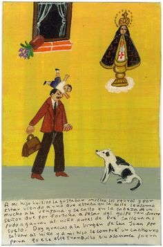 """Mexican exvoto retablo """"Saved by a Head"""""""