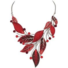 Willow Red Enamel and Crystal Silver Tone Necklace ($46) ❤ liked on Polyvore featuring jewelry, necklaces, crystal jewellery, silvertone necklace, red necklace, crystal necklace and crystal jewelry